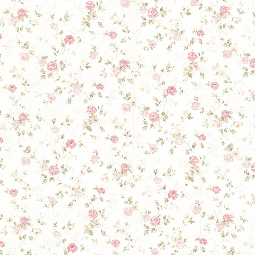 Mirage Alex Pink Delicate Satin Floral Trail Wallpaper Sample