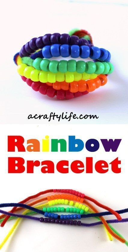 rainbow bracelet kid craft - acraftylife.com #kidscraft #craftsforkids #preschool #rainbowcrafts