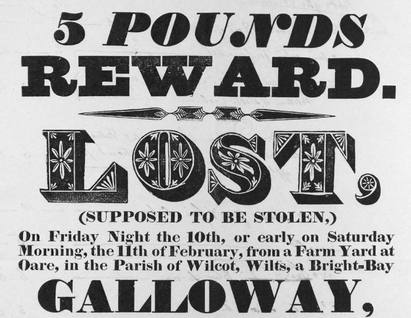 Poster design history - 1832 Reward Poster For Lost Horse From The John Soulby Collection University Of Reading