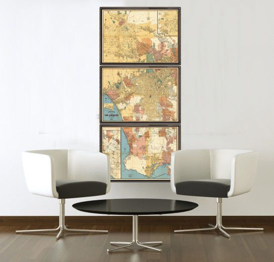 Old Map of Los Angeles 1938 (3 FRAMES) - product image | Apartment ...