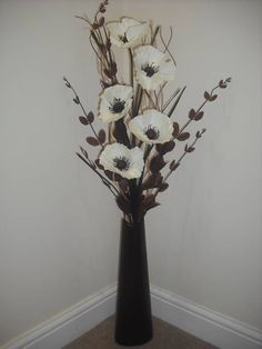 Cream Silk Flower Arrangement Brown Vase 1 Metre Tall Flower Vase Arrangements Tall Vase Decor Tall Vase Arrangements