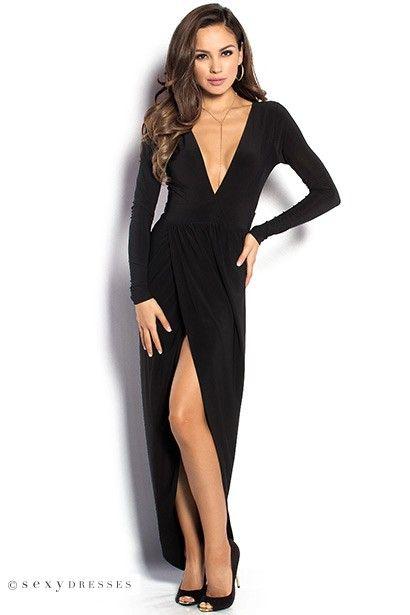 Irene Black Long Sleeve Maxi Dress With Plunging Neckline Style