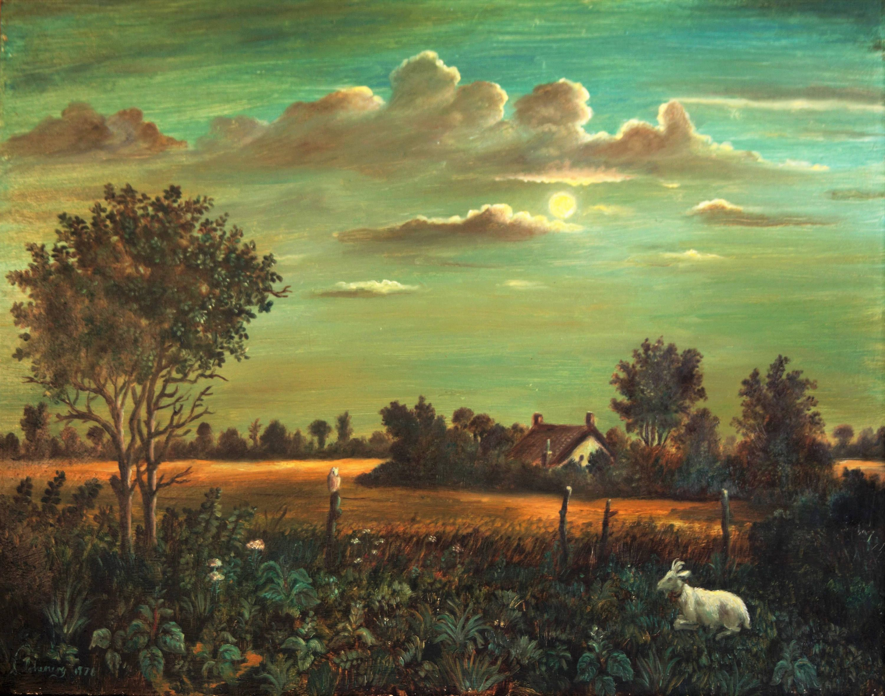 Goat And Owl In A Moonlit English Farm Landscape Oil Painting Etsy Oil Painting Landscape Vintage Landscape Moonlight Painting
