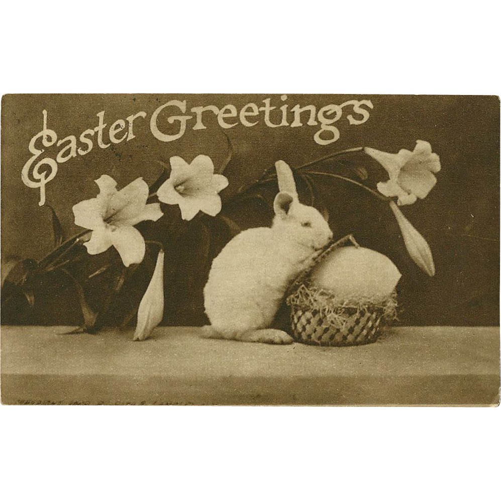 Easter Greetings 1910 Postcard with Bunny Rabbit from madgelee on Ruby Lane