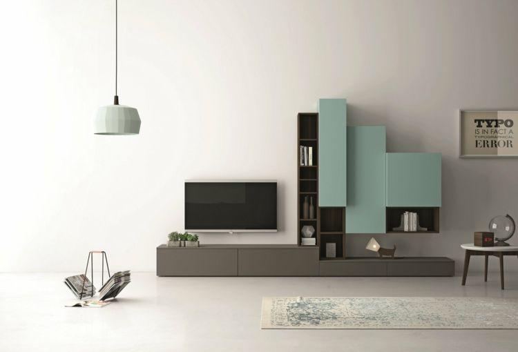 Wohnwand Im Wohnzimmer Grau Minze Farben Modern Fernseher Idee