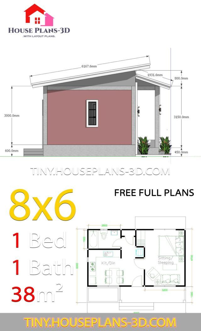 Small House Plans 8x6 With One Bedrooms Shed Roof Tiny House Plans Small House Plans Small House Floor Plans Tiny House Design