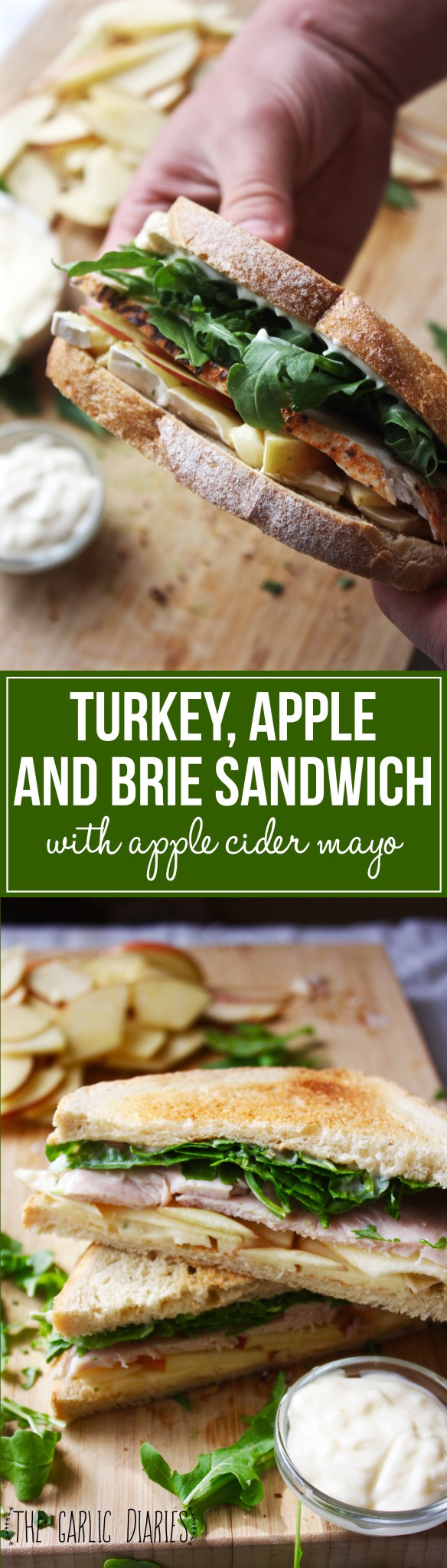 Turkey, Apple, and Brie Sandwich with Apple Cider Mayo - Easy, fresh, and SO flavorful!! The perfect sandwich -- TheGarlicDiaries.com