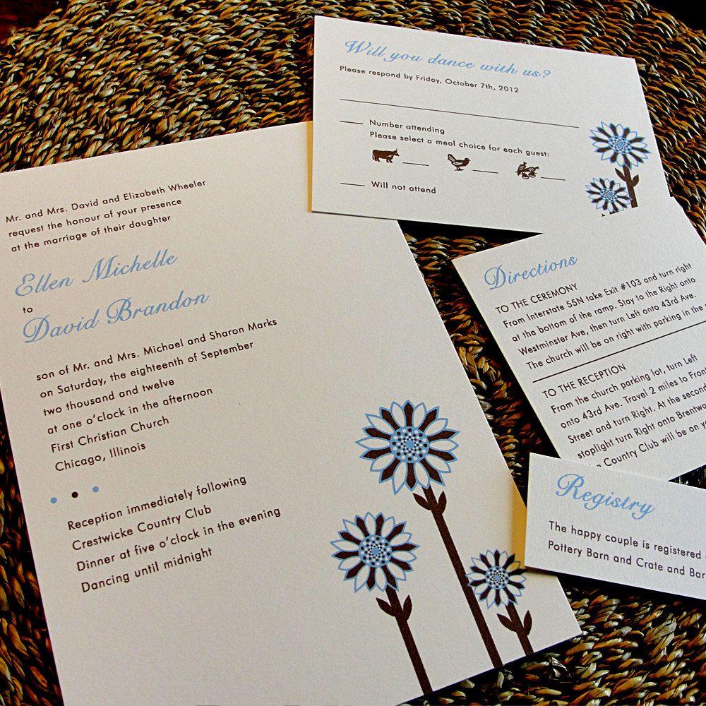 Custom Modern Color Wedding Invitation Set By Prettylilnotes 3 00