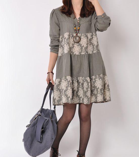 Grey 2014 spring dress cotton dress long by originalstyleshop, $58.00