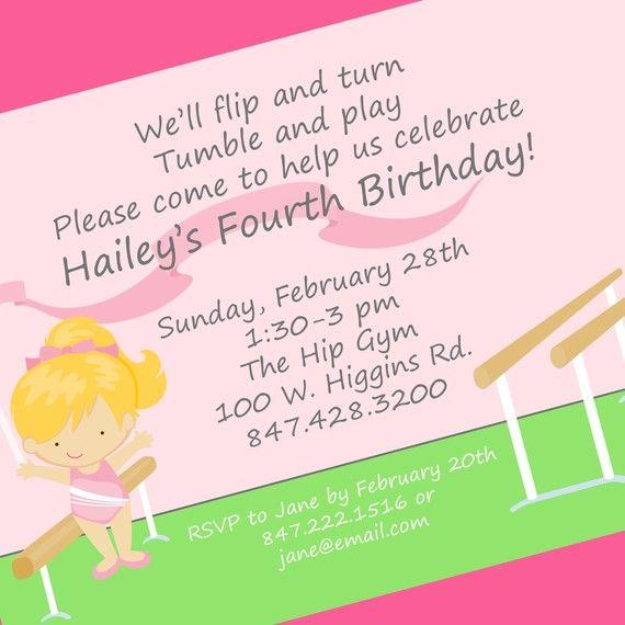 Gymnastics Party Invitation Printable Invitation by cardsbycarolyn - best of invitation wording for gymnastics party