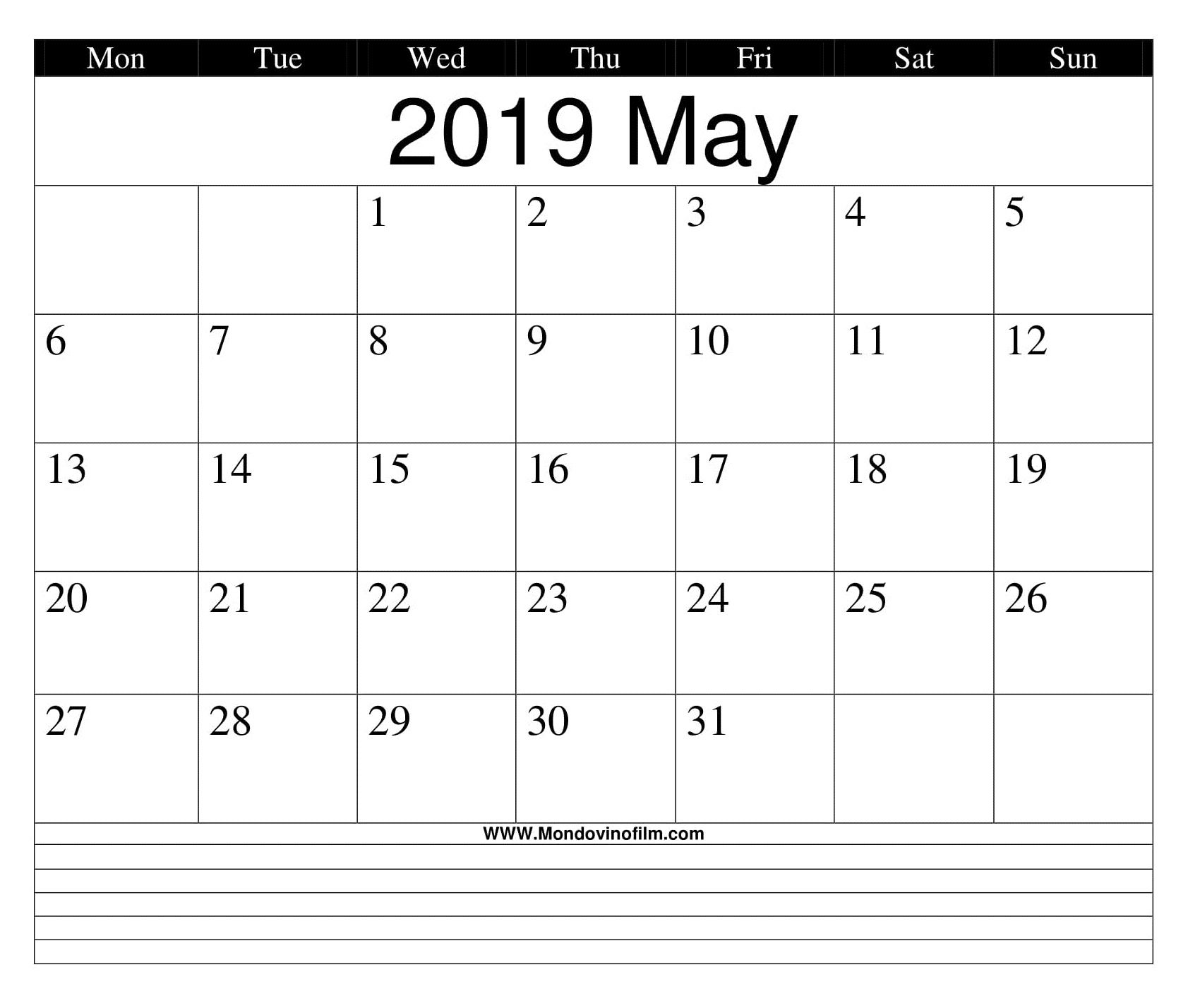 May Calendar Template Worksheet