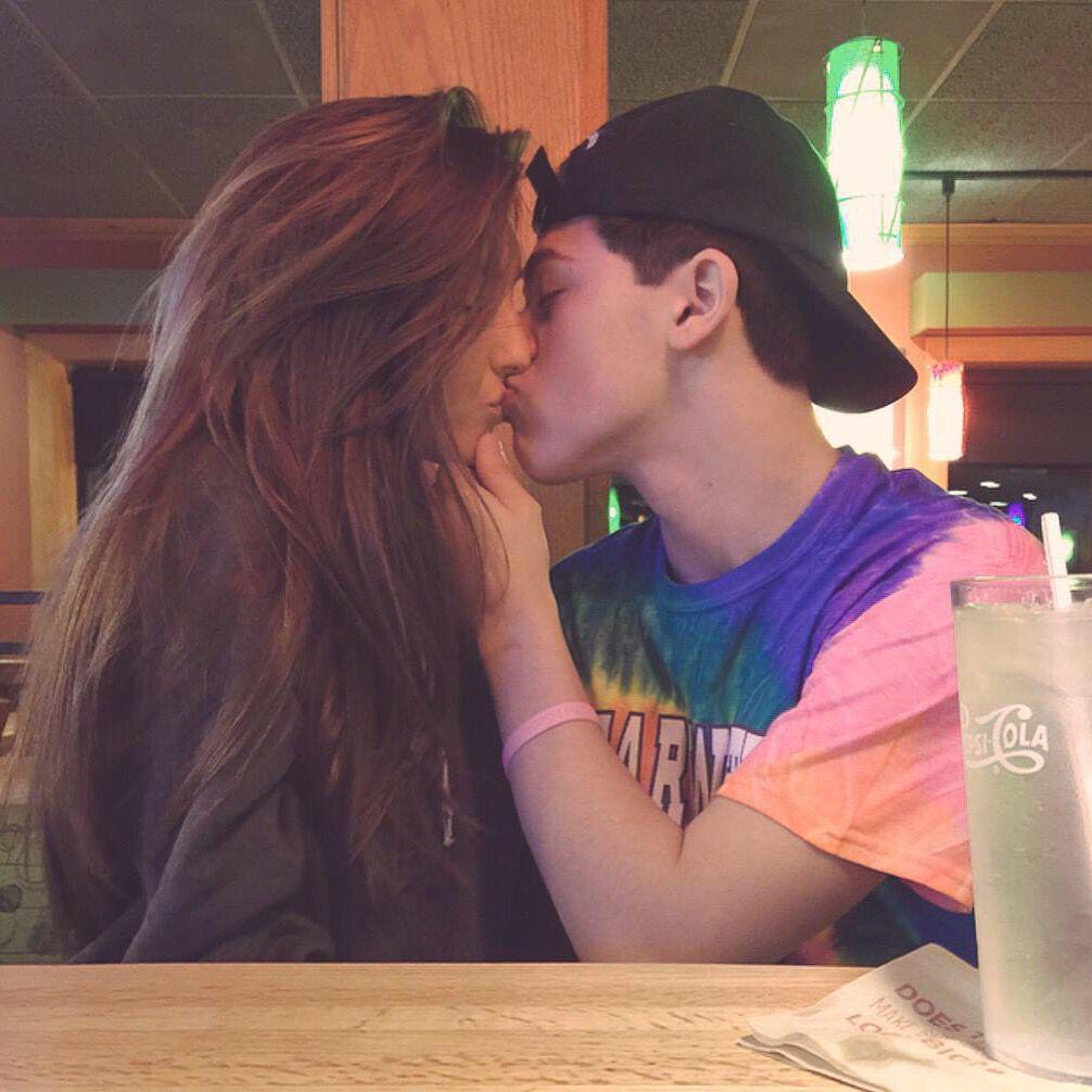 Mikey Barone kissing Taylor Alesia