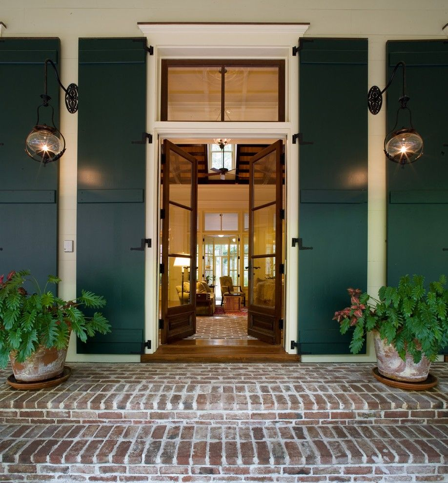 french doors with shutters. French Door Shutters In Exterior Mediterranean With Stone House Hung Front Doors