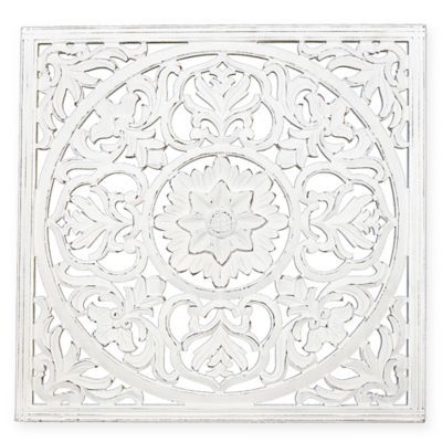 Zaria 36 Square Medallion Wall Art In White Wall Medallion Medallion Wall Art Carved Wall Art