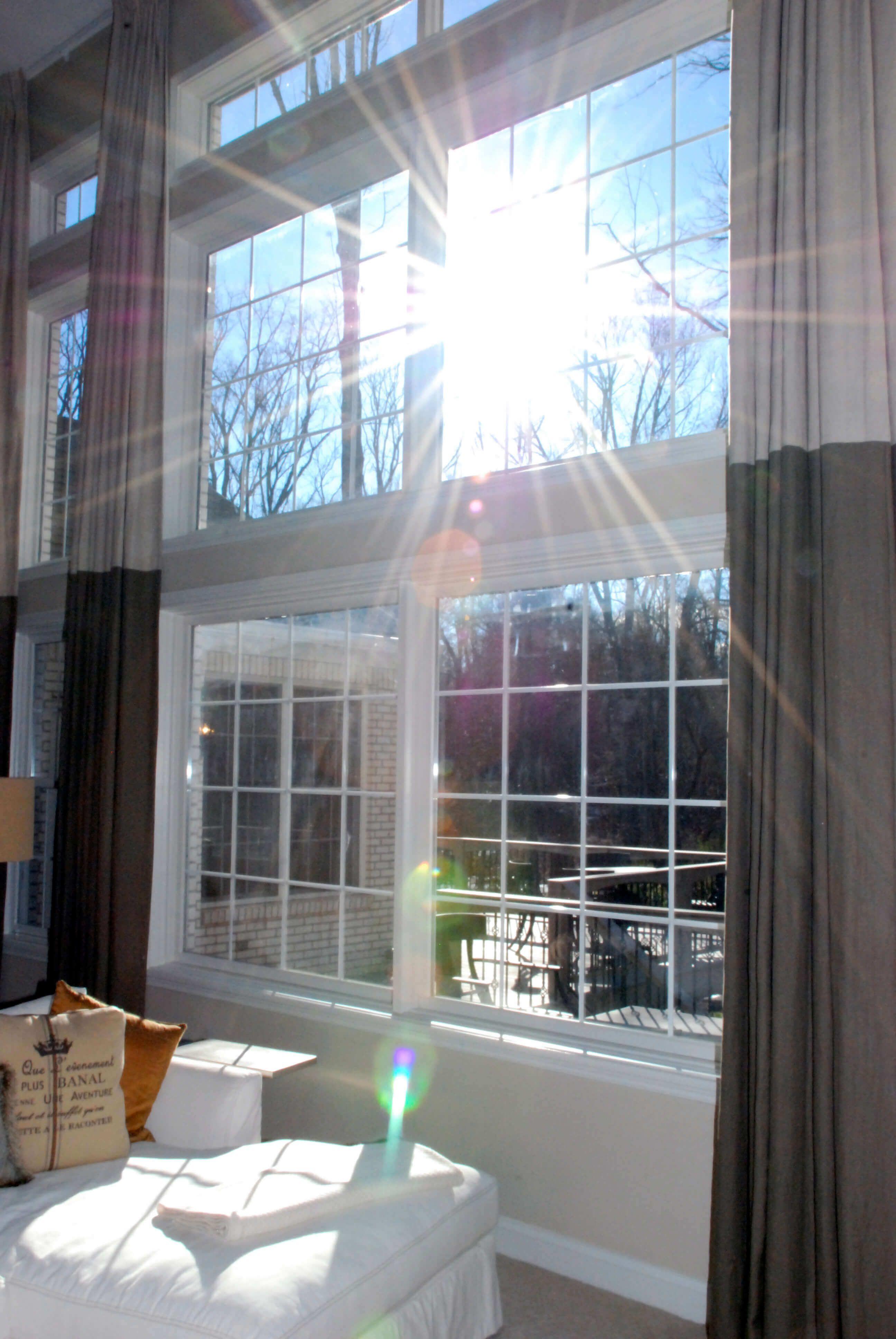 Two Story Window Treatments   Drapery Street   Grey window ...