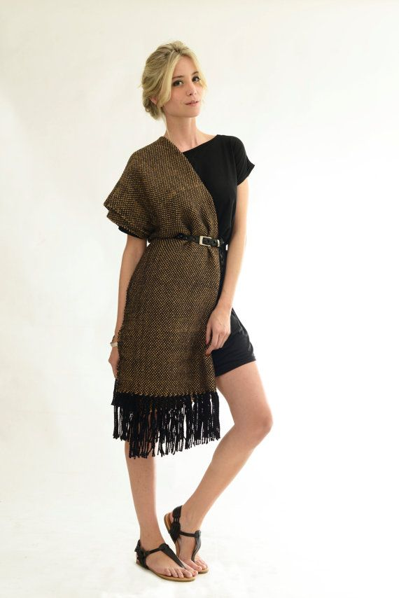 Black Beige wrap Handwoven wool shawl golden spring di texturable, $110.00