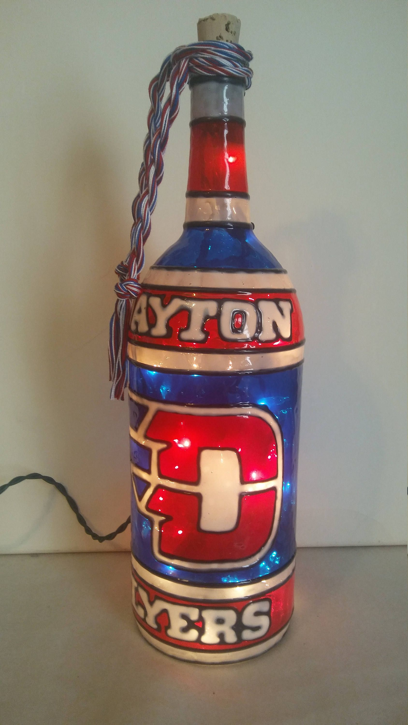Dayton Flyers Inspired Wine Bottle Lamp Hand Painted Lighted Stained Glass Look By Hillysboutique Wine Bottle Lamp Hand Painted Wine Bottles Wine Bottle Crafts