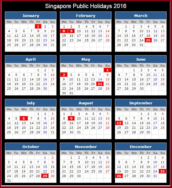 Diy Calendar Singapore : Singapore holidays calendar with