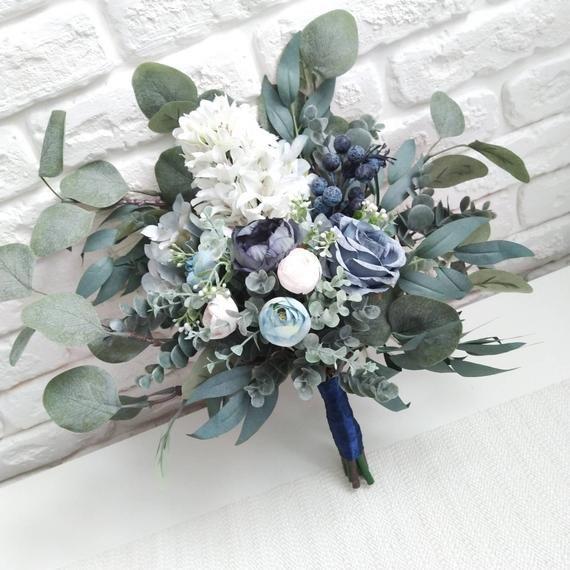 Dusty blue peony eucalyptus bouquet Navy blue bridal bouquet Wedding silk flowers bouquet Boho wedding bouquet Greenery faux bouquet - 16 in #bluepeonies
