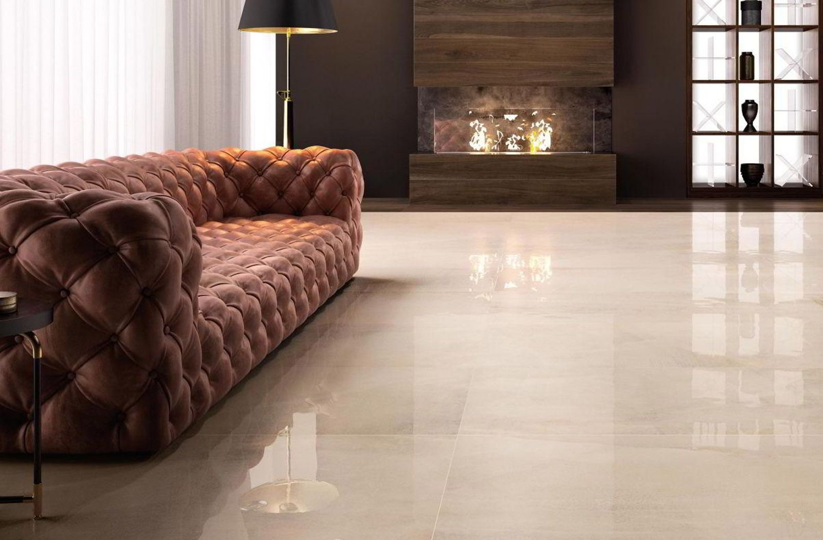 Luxurious Living Space With All Ivory Tile From Ceramiche Supergres Living Room Tiles Living Room Designs Interior Design