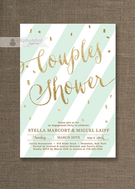 269f93c363b9 Mint Green   Gold Couples Shower Invitation Glitter Pastel Wedding Bridal  Party Modern FREE PRIORITY SHIPPING or DiY Printable - Stella