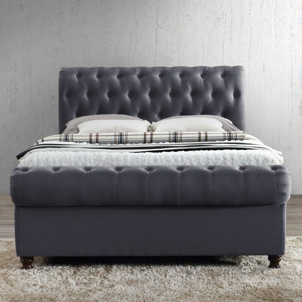 Prime Castello Charcoal Fabric Ottoman Scroll Sleigh Bed Caraccident5 Cool Chair Designs And Ideas Caraccident5Info