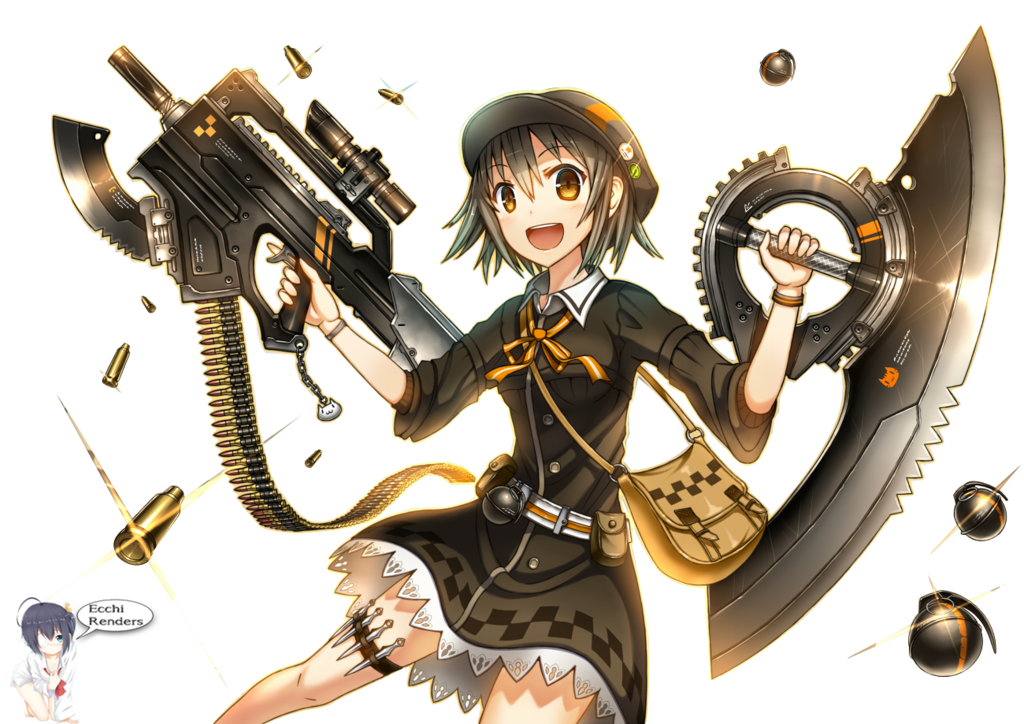Anime girl with gun and dagger Render by iAmEcchi | Picture n Etc ...