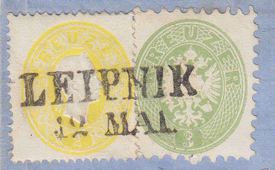 Austria, 1860 / 61 1863 / 64, Moravia, LEIPNIK, 5 respectively 4 p, 19 a 31 a, scarce issues mixed franking (a issue skipped!) cover to Moravian WEIßKIRCHEN, certificate Ferchenbauer being an especially effective sprightly selected P!