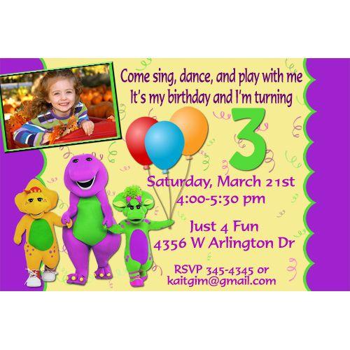 baby bop and barney birthday invitation Google Search My