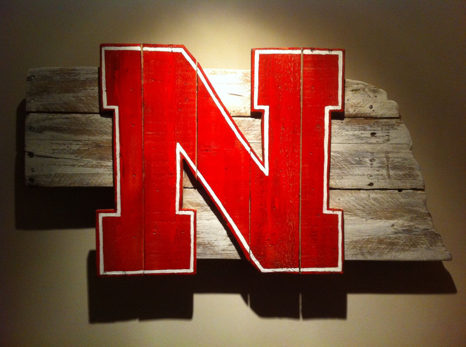 Husker Man Cave Ideas : Wooden state of nebraska with cornhuskers by campgroundproduction