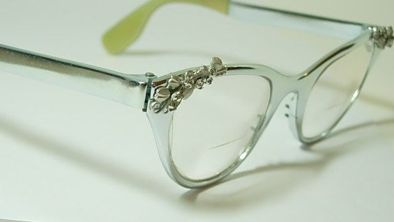 vintage tura silver cat eyeglass frames decorated with flower vine leaf design rhinestones large larger size eye glass