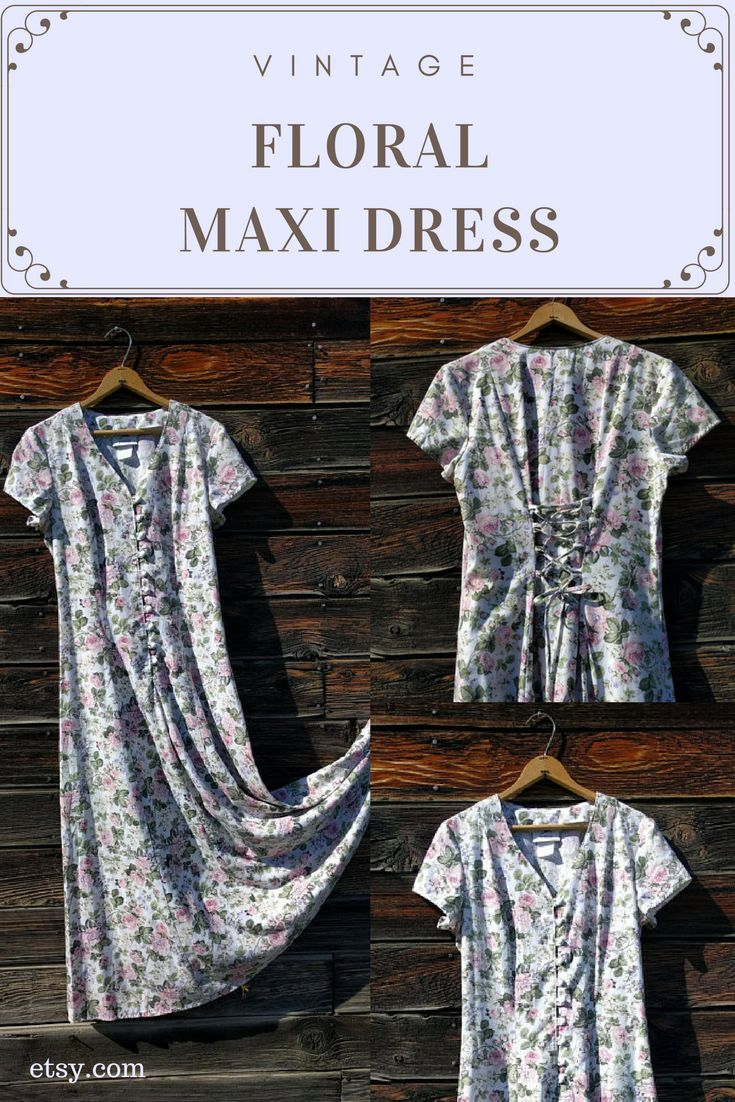 This is a beautiful floral vintage shortsleeve maxi dress by hana