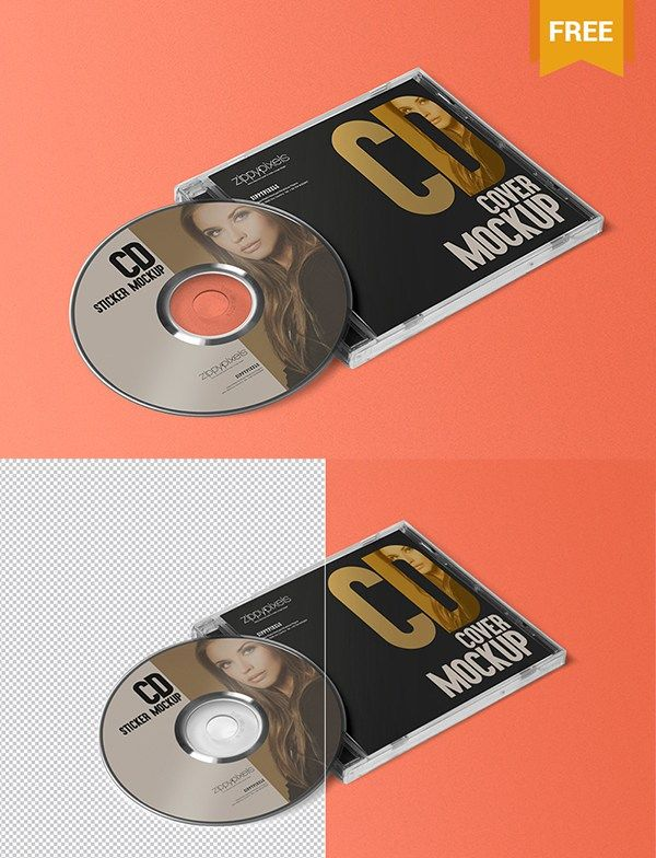 Free Cd Jewel Case  Label Sticker Mockup  Mockup Templates