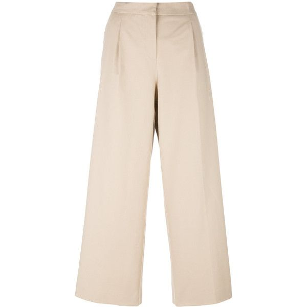 Boutique Moschino cropped trousers (110.185 HUF) via Polyvore featuring pants, capris, beige, cropped trousers, cotton trousers, pink pants, pink trousers and cotton crop pants