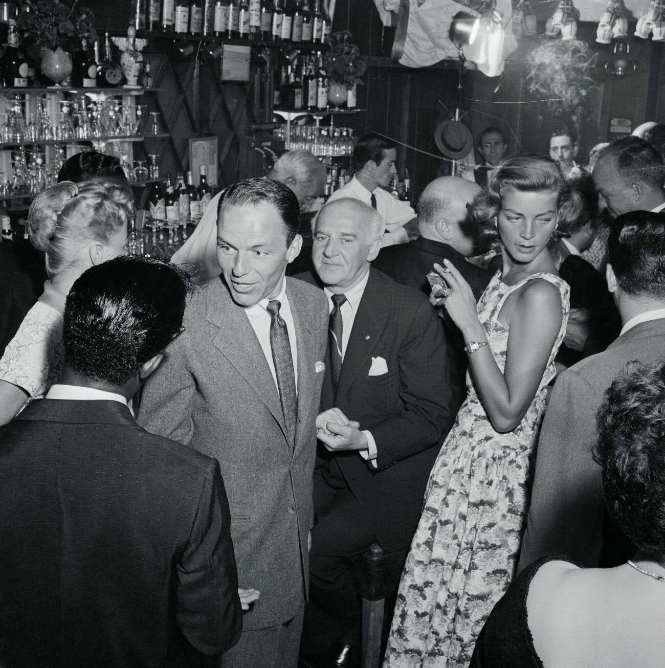 Frank Sinatra, Sam Giancana and Lauren Bacall, 1957 | The Brat Pack