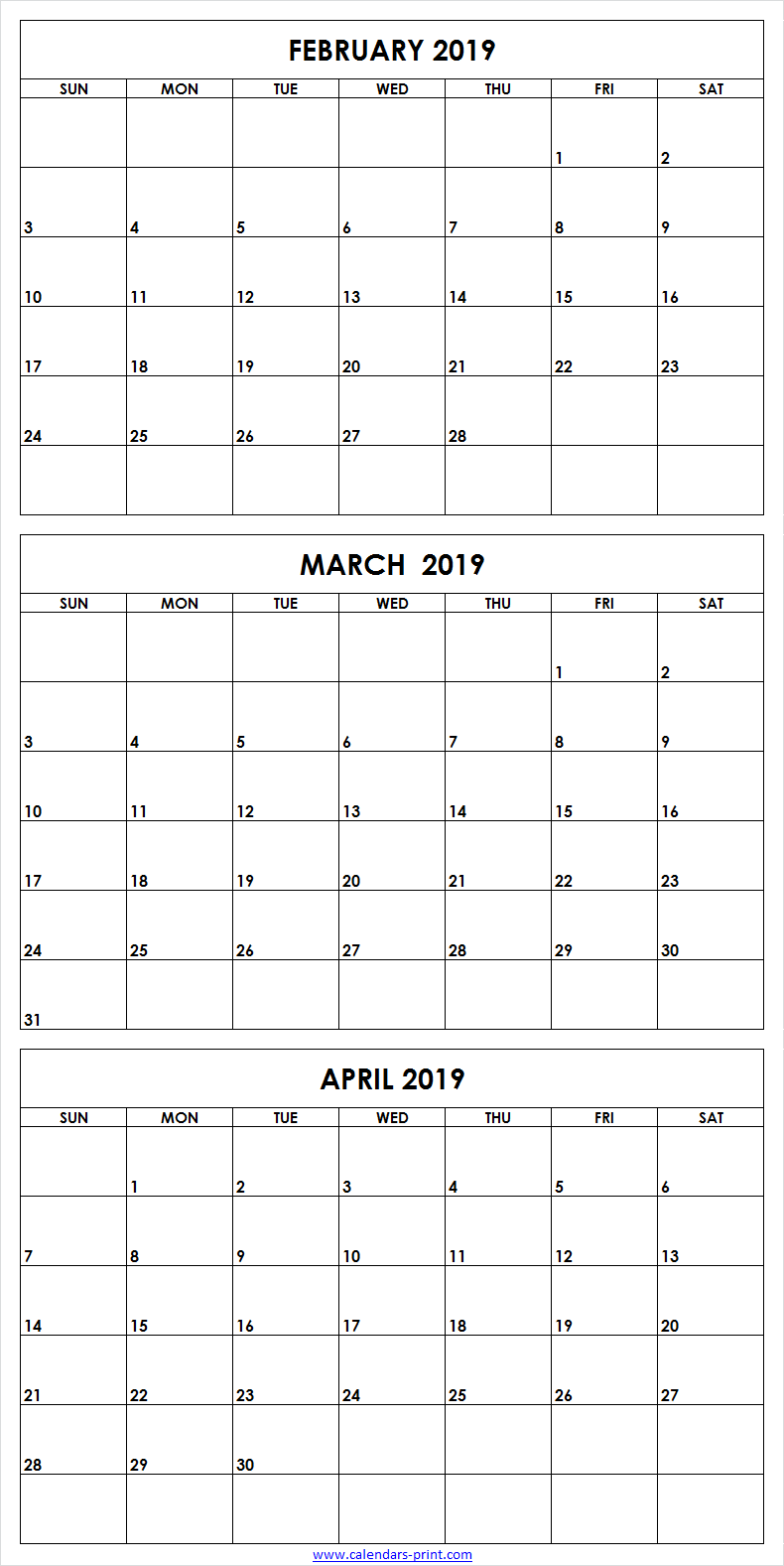 picture relating to 3 Month Printable Calendars named 3 Thirty day period February in direction of April 2019 Calendar Template February