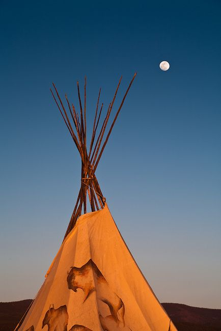 Moon rising above a tipi in Taos, New Mexico. | Adam Schallau Photography