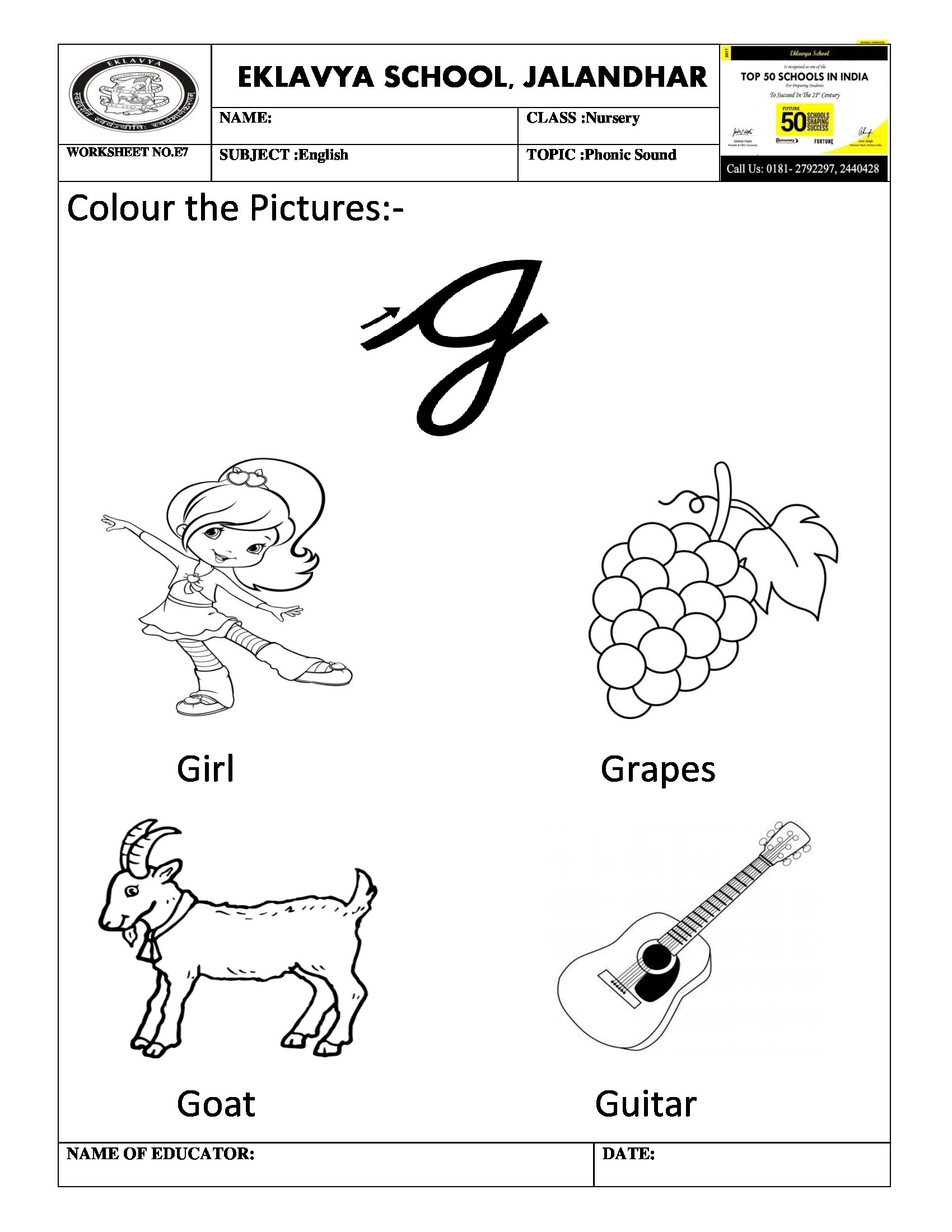 Worksheet On Phonic Sound G With Images