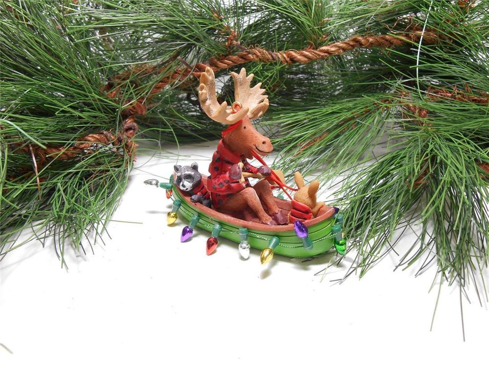 Moose, Rabbit and Raccoon in Decorated Canoe Christmas Ornament - moose christmas decorations