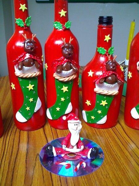Decoupage botellas navide as buscar con google pinteres - Botellas decoradas navidenas ...