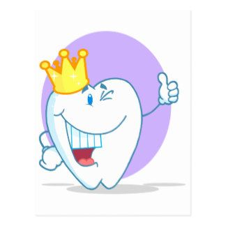 Personaje de dibujos animados sonriente del diente tarjeta postal