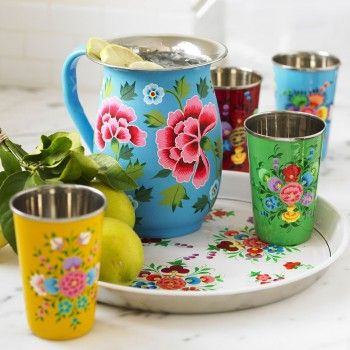Bohemian. Flowered Enamelware > love the colours!