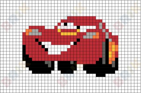 Lightning Mcqueen Pixel Art Point De Croix Et Grille Point