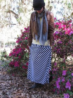 Outfit combo: Stripes. Skirt. Leather. Jacket. Newsboy cap. Scarfy. Bright colors. http://apinchofclassy.blogspot.com/2013/02/hello-stripey-classygarb.html