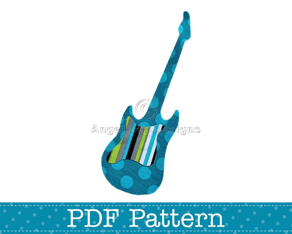 Applique Template, Electric Guitar, Musical Instrument, DIY, Children, PDF Pattern by Angel Lea Designs. $2.00, via Etsy.