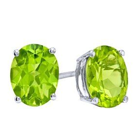 Princess cut Natural peridot stud earrings august birthstone