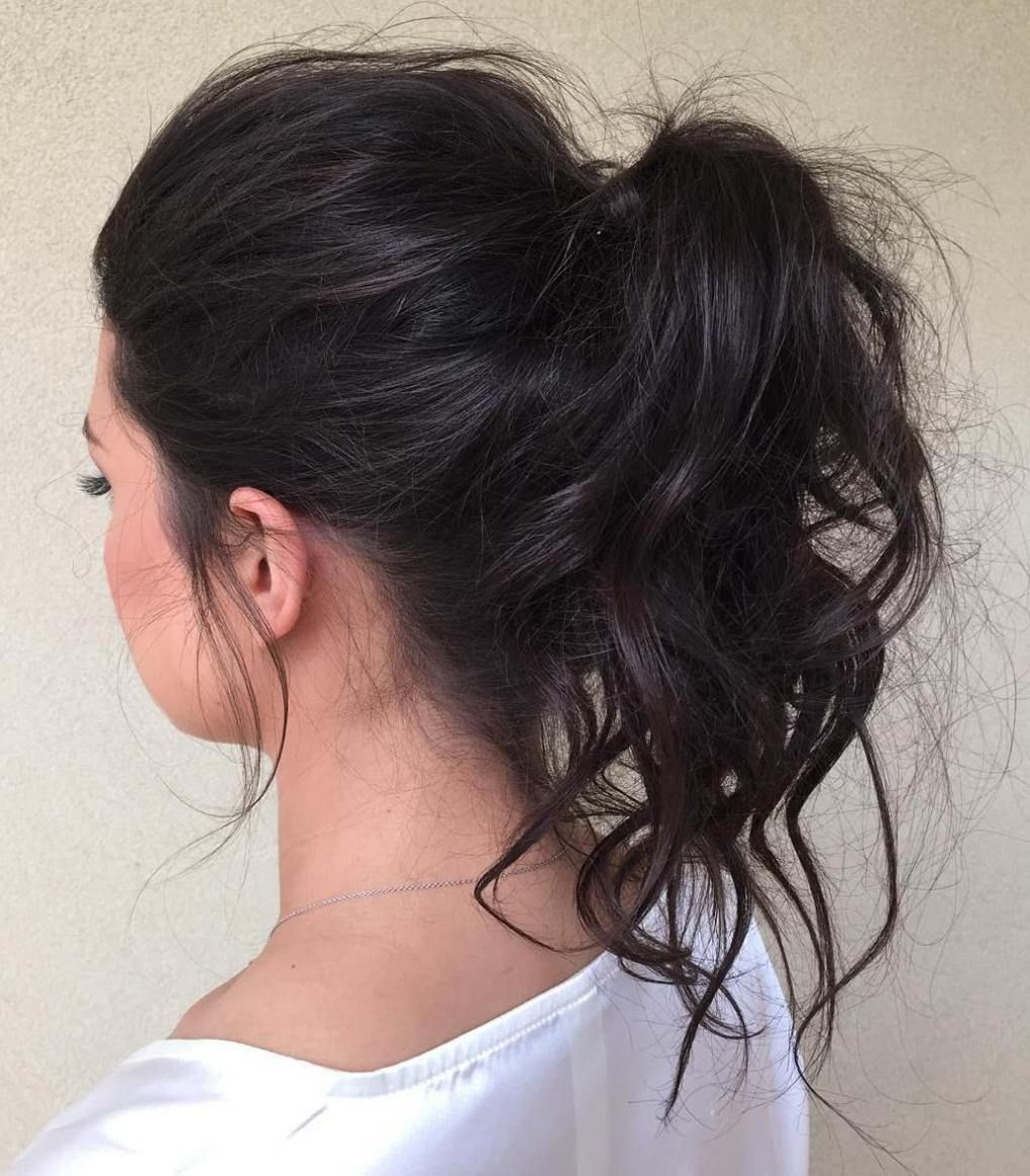 30 Eye Catching Ways To Style Curly And Wavy Ponytails Medium Hair Styles Wavy Ponytail Messy Ponytail Hairstyles