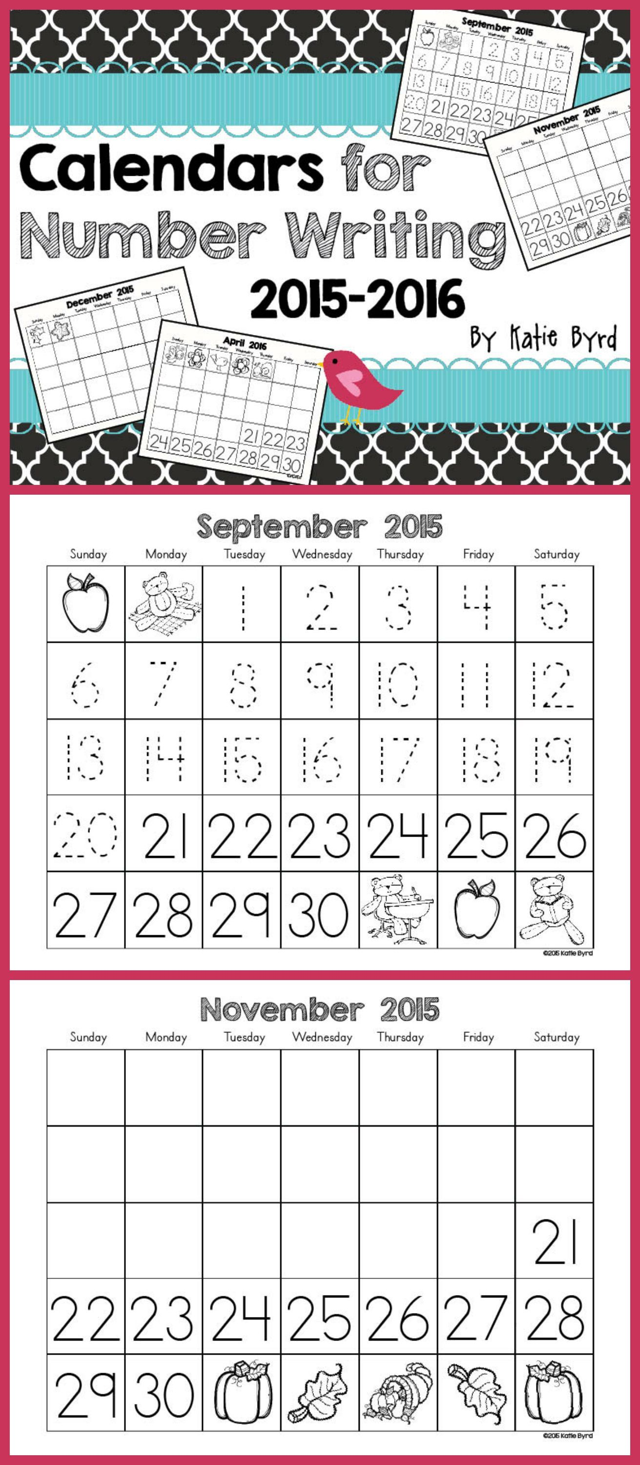Calendars for Number Writing ~Perpetual~ | Kindergarten classroom ...