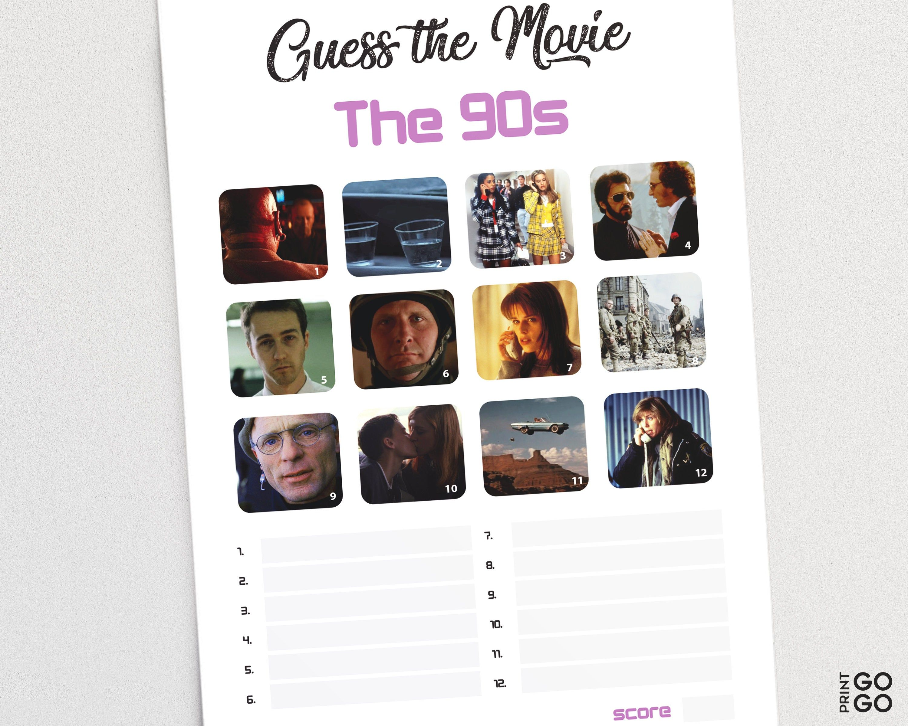 Guess The 1990s Movie Game 90s Film Quiz Pub