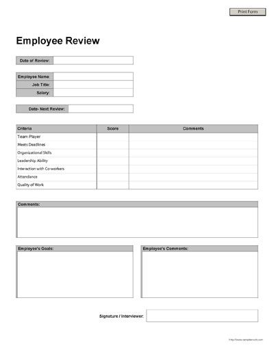 Employee Review Form Templates Printable Free